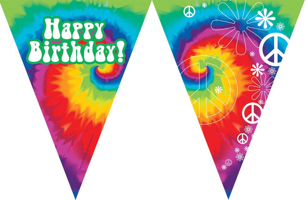tie dye happy birthday flag banner