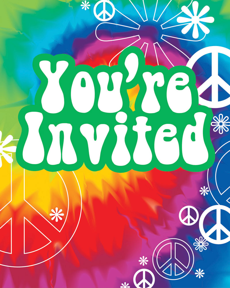 tie dye fun invitations 8 ct